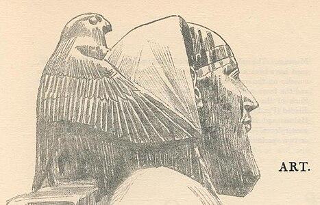 c42ca6fa80bd65 Horus protégeant Khéphren, IV dynastie. Croquis d après une statue du Musée  égyptien du Caire.