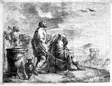 Homme debout tournant son visage vers les cieux qui s'entr'ouvrent