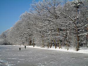Stadtpark und Botanischer Garten Gütersloh - ice meadow flooded for ice-skating in the winter