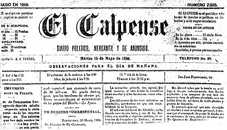 El Calpense - El Calpense cover page from 15 May 1894