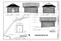 Elevations and Site Plan - William B. Back Ranch, Smokehouse, 5525 Beaver Creek Road, Rimrock, Yavapai County, AZ HABS AZ-217-B (sheet 1 of 1).png