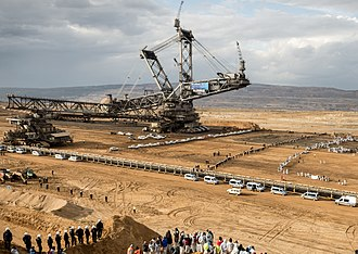 Open-pit mining - The giant bucket-wheel excavator in the German Rhineland coal mines are among the world's biggest land vehicles.