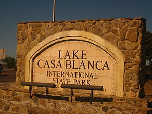 Lake Casa Blanca - Entrance sign to Lake Casa Blanca International State Park off the Bob Bullock Loop in Laredo