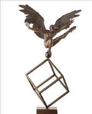 Jorge Marín - Winged Gymnast II in Cube 2009 Bronze 51 x 53 x 45 cm (sculpture), 53 x 50 x 50 cm (cube)