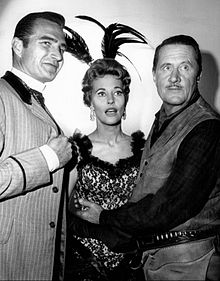 Photo of Eric Fleming as Gil Favor and guest stars Lola Albright and Allyn Joslyn from the television program Rawhide.