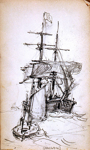 Ernest Dade - Sketch of small sailing craft and a square-rigger, from one of Dade's sketchbooks, at the National Maritime Museum