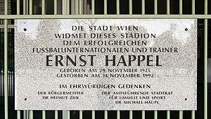 Ernst Happel - Plaque at the Ernst-Happel-Stadion in Vienna