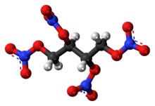 Ball-and-stick model of the erythritol tetranitrate molecule