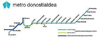 Metro Donostialdea - Map of Metro Donostialdea line and Euskotren Trena line in Donostialdea.