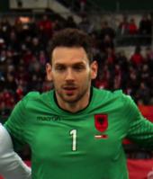 Etrit Berisha con la nazionale albanese.