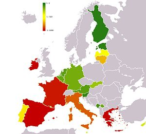 EuroBillTracker - A map of Eurozone according to their EBT hit ratio, i.e. the ratio between the number of banknotes registered at least two times and the total number of banknotes entered in a country. Green represents a higher ratio.
