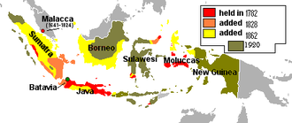 Map of the Dutch East Indies showing its expansion from 1800 to 1942. Evolution of the Dutch East Indies.png
