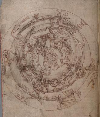 Planisphere - Medieval planisphere,c.1000. National Library of Wales MS 735C, Aberystwyth.