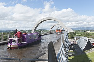 Falkirk Wheel - View of the aqueduct and top of the wheel.