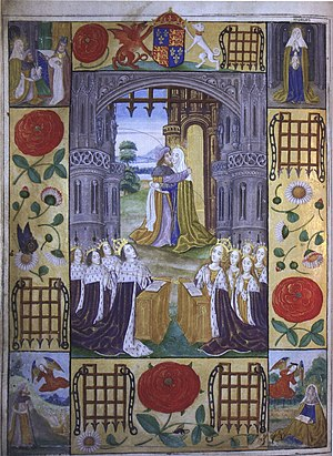 Arthur, Prince of Wales - The family of Henry VII, depicted on an illuminated page.