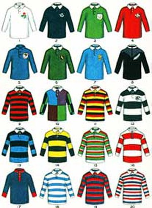 Rugby union equipment - Famous Rugby Jerseys, early 1920s boys magazine illustration of the playing stripes of the top clubs and countries.