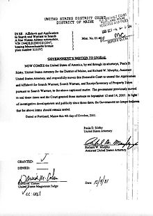 9/11 Search Warrant - Wikisource, the free online library