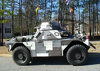 "Military camouflage - A Ferret armoured car with ""Berlin camouflage"" meant to hide it against that city's concrete buildings. Such terrain-specific patterns are rare."