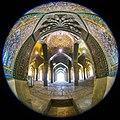 Fisheye lenses - Canon- Vakil Mosque -shiraz-Iran 02 عکس از کاشی کاری و ستون های شبستان اصلی مسجد وکیل شیراز (cropped).jpg
