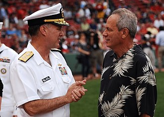Larry Lucchino - BOSTON (July 6, 2012) Vice Chief of Naval Operations Adm. Mark Ferguson speaks with Larry Lucchino at Fenway Park.