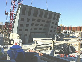 Floodgate - A US Army Corps of Engineers hinged bascule crest gate during installation