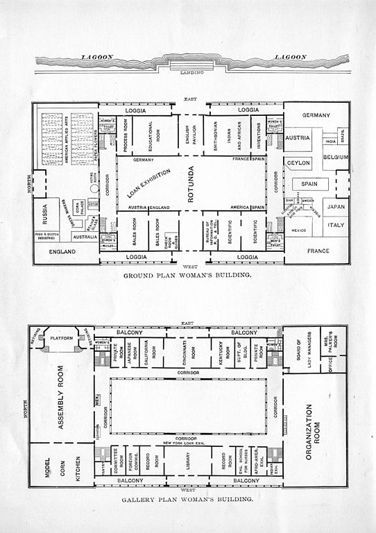 Px Floor Plan And Ground Plan Of The The Woman S Building C World S Columbian Exposition C