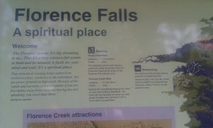 Florence Falls - A sign post near the falls.