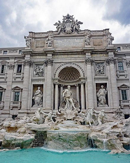 The Trevi Fountain. Construction began during the time of Ancient Rome and was completed in 1762 by a design of Nicola Salvi.