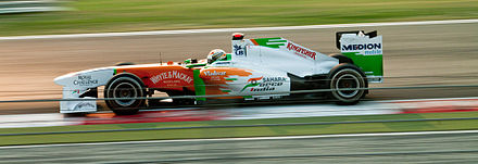 Adrian Sutil qualified in eighth position for Force India's 'home race'. Force india Buddh.jpg
