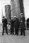 Four P & O cadets of the Viceroy of India on the starboard side of the Bridge Deck with their sextants (5075032692).jpg