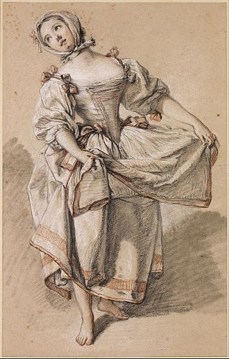 François Boucher - Young Country Girl Dancing, black, red and white chalk and stump on paper