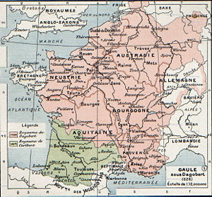 Charibert II - The Frankish kingdoms, showing Charibert's kingdom in green.