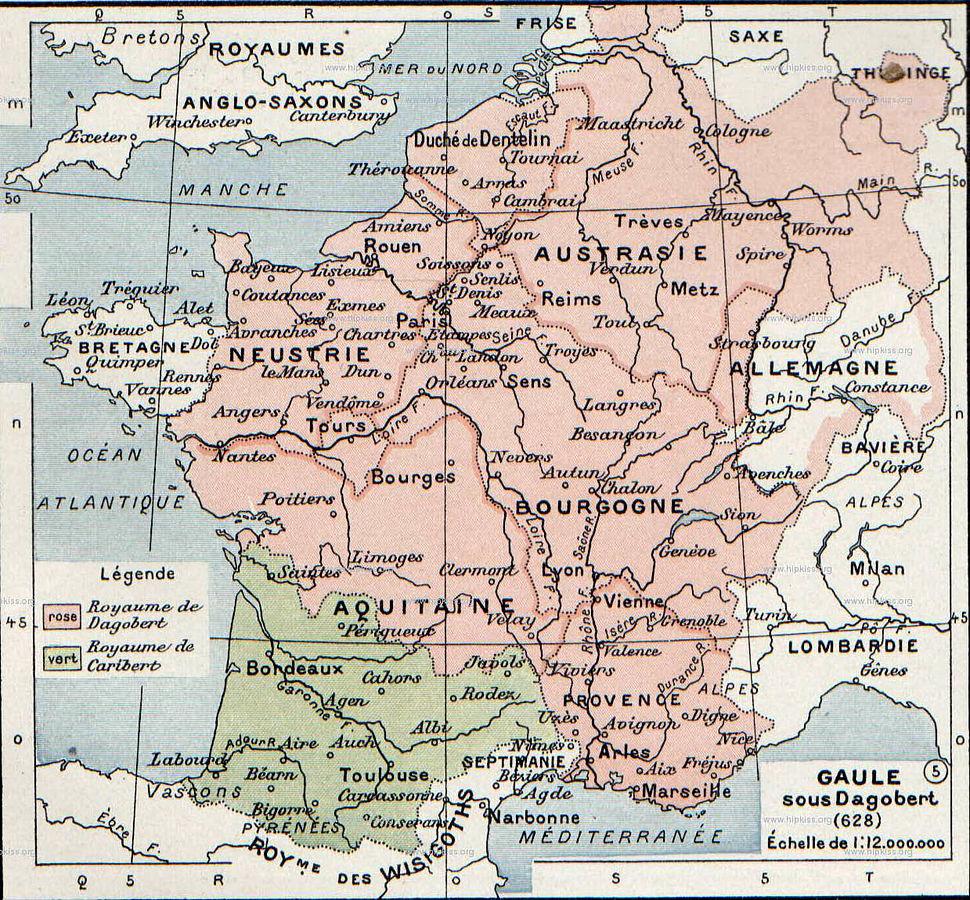 Frankish kingdoms in 628