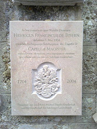 Heinrich Ignaz Franz Biber - Commemorative plaque by Biber's grave in Petersfriedhof.