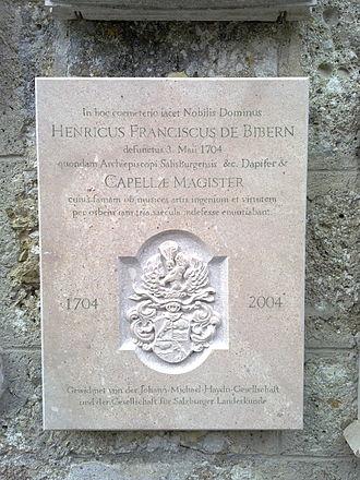Heinrich Ignaz Franz Biber - Commemorative plaque by Biber's grave in Petersfriedhof.
