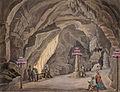 Franz Kurz zum Thurn und Goldenstein - Zastor, jahalna šola, spovednica in stebri v obliki topov v Postojnski jami.jpg