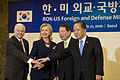 From left, U.S. Secretary of Defense Robert Gates, U.S. Secretary of State Hillary Rodham Clinton, South Korean Foreign Minister Yu Myung-hwan and South Korean Defense Minister Kim Tae-young pose for a photo 100721-D-JB366-023.jpg