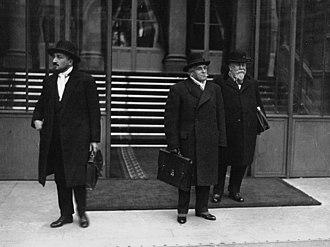 Eugène Frot - Frot (left), Joseph Paul-Boncour and Henri Chéron leaving the Élysée in 1933