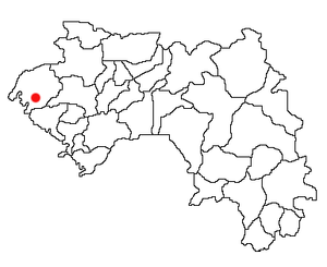 Location of Boké Prefecture and seat in Guinea.