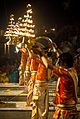 Ganga aarti with lamp vase at Dasaswamedh Ghat, Varanasi 03.jpg