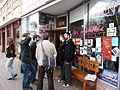 Gathering outside La Manitas cafe.jpg