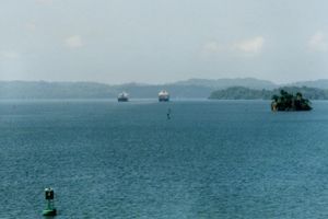 Gatun Lake - Ships follow marked channels among the hilltop islands