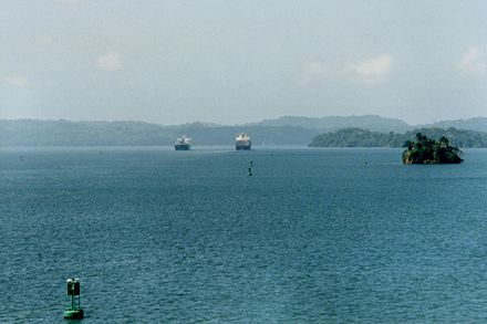 Gatun Lake provides the water used to raise and lower vessels in the Canal, gravity fed into each set of locks Gatun Lake.jpg