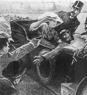 Yugoslavism - Depiction of the assassination of Austrian Archduke Franz Ferdinand by Serb Yugoslavist militant Gavrilo Princip.