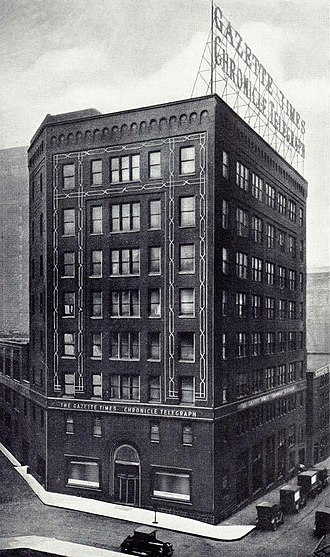 Pittsburgh Sun-Telegraph - Publication building of the Chronicle Telegraph and Gazette Times (1915–1927), the Sun-Telegraph (1927–1960), and the Post-Gazette (1960–1961).