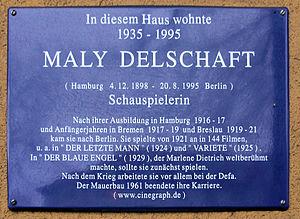 Maly Delschaft - Image: Gedenktafel Kaiserdamm 89 (West) Maly Delschaft