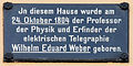 Gedenktafel Schlossstr 14-15 (Wittenberg) Wilhelm Eduard Weber 2.jpg