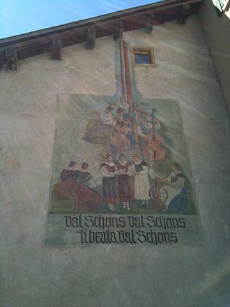Schams - Wall-paintings and inscriptions in Andeer, written in Sutsilvan, about the beautiful valley of Val Schons