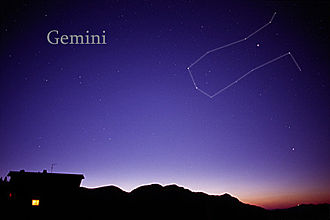 Gemini (constellation) - The constellation Gemini as it can be seen with the unaided eye, with added connecting lines.