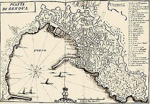 Mappa del XVIII secolo raffigurante il golfo di Genova